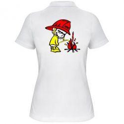 Женская футболка поло Писающий хулиган-пожарный - FatLine