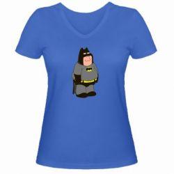 Женская футболка с V-образным вырезом Питер Гриффин Бэтмен - FatLine