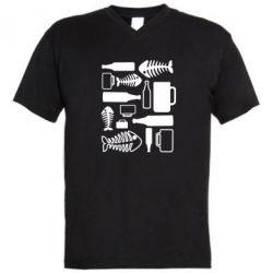 Мужская футболка  с V-образным вырезом Пиво и рыбка - FatLine