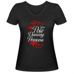 Женская футболка с V-образным вырезом Pole Dancing Princess