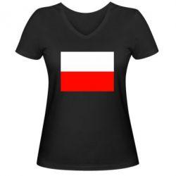 Женская футболка с V-образным вырезом Польша - FatLine