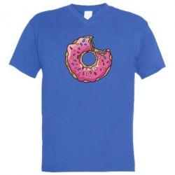 Мужская футболка  с V-образным вырезом Пончик - FatLine