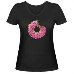 Женская футболка с V-образным вырезом Пончик - FatLine