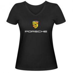 Женская футболка с V-образным вырезом Porsche - FatLine