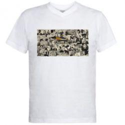 Мужская футболка  с V-образным вырезом Постер Криминальное чтиво - FatLine
