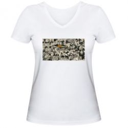 Женская футболка с V-образным вырезом Постер Криминальное чтиво - FatLine
