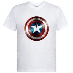 Мужская футболка  с V-образным вырезом Потертый щит - FatLine