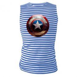 Майка-тельняшка Потрескавшийся щит Капитана Америка - FatLine
