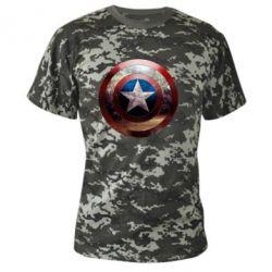 Камуфляжная футболка Потрескавшийся щит Капитана Америка - FatLine