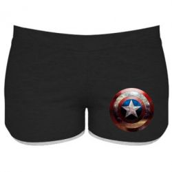 Женские шорты Потрескавшийся щит Капитана Америка - FatLine