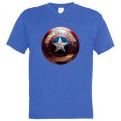 Мужская футболка  с V-образным вырезом Потрескавшийся щит Капитана Америка - FatLine