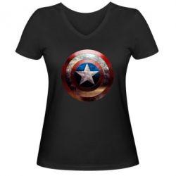 Женская футболка с V-образным вырезом Потрескавшийся щит Капитана Америка - FatLine