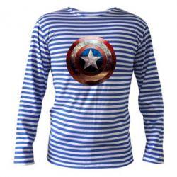 Тельняшка с длинным рукавом Потрескавшийся щит Капитана Америка - FatLine