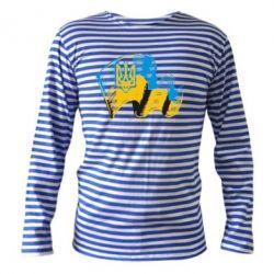 Тельняшка с длинным рукавом Прапор України з гербом - FatLine
