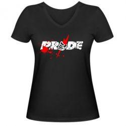 Женская футболка с V-образным вырезом Pride Logo - FatLine