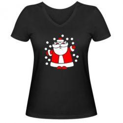 Женская футболка с V-образным вырезом Прикольный дед мороз - FatLine
