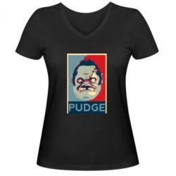Женская футболка с V-образным вырезом Pudge aka Obey - FatLine