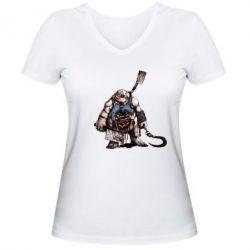 Женская футболка с V-образным вырезом Pudge Art - FatLine