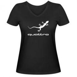 Женская футболка с V-образным вырезом Quattro - FatLine