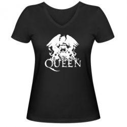 Женская футболка с V-образным вырезом Queen - FatLine