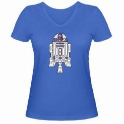 Женская футболка с V-образным вырезом R2D2 - FatLine