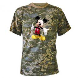 Камуфляжная футболка Радостный Микки Маус - FatLine