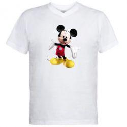 Мужская футболка  с V-образным вырезом Радостный Микки Маус - FatLine