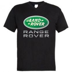 Мужская футболка  с V-образным вырезом Range Rover Logo Metalic - FatLine