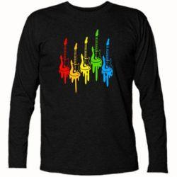 Футболка с длинным рукавом Разноцветные гитары - FatLine