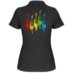 Женская футболка поло Разноцветные гитары - FatLine