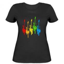 Женская футболка Разноцветные гитары - FatLine