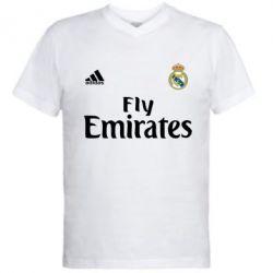 Мужская футболка  с V-образным вырезом Реал - FatLine