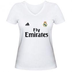 Женская футболка с V-образным вырезом Реал - FatLine