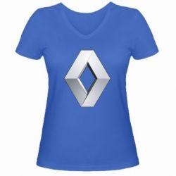 Женская футболка с V-образным вырезом Renault Logo - FatLine