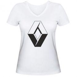 Женская футболка с V-образным вырезом Renault - FatLine