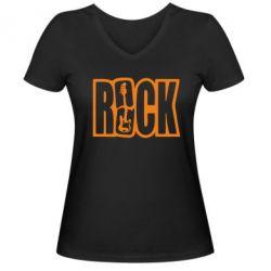 Женская футболка с V-образным вырезом Rock - FatLine