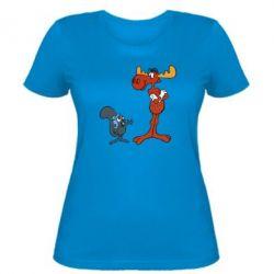 Женская футболка Рокки и Бульвинкль - FatLine