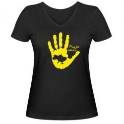 Женская футболка с V-образным вырезом Рука з картою України - FatLine