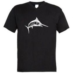 Мужская футболка  с V-образным вырезом Рыба Марлин - FatLine