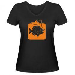 Женская футболка с V-образным вырезом Рыба на крючке - FatLine