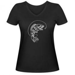Женская футболка с V-образным вырезом Рыба - FatLine