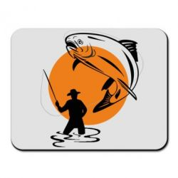Коврик для мыши Рыбак на фоне солнца - FatLine