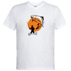 Мужская футболка  с V-образным вырезом Рыбак на фоне солнца - FatLine