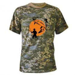 Камуфляжная футболка Рыбак на фоне солнца - FatLine