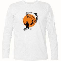 Футболка с длинным рукавом Рыбак на фоне солнца - FatLine