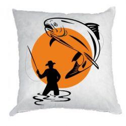 Подушка Рыбак на фоне солнца - FatLine