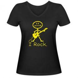 Жіноча футболка з V-подібним вирізом З гітарою - FatLine