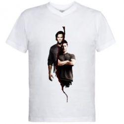 Мужская футболка  с V-образным вырезом Sam and Dean - FatLine