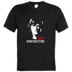 Мужская футболка  с V-образным вырезом Sam Winchester - FatLine