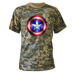 Камуфляжная футболка Щит Капитана Америка - FatLine